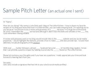 sample of bussiness letters working with brands for bloggers