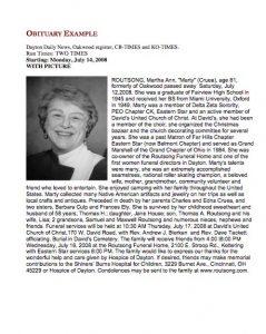 sample of obituary obituary example