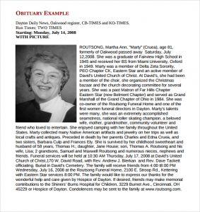sample of obituary obituary template example