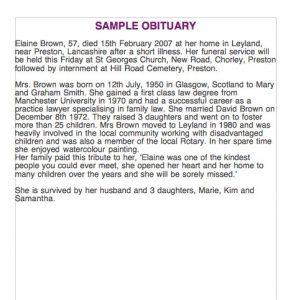 sample of obituary sample obituary