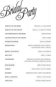 sample of wedding programme randa program