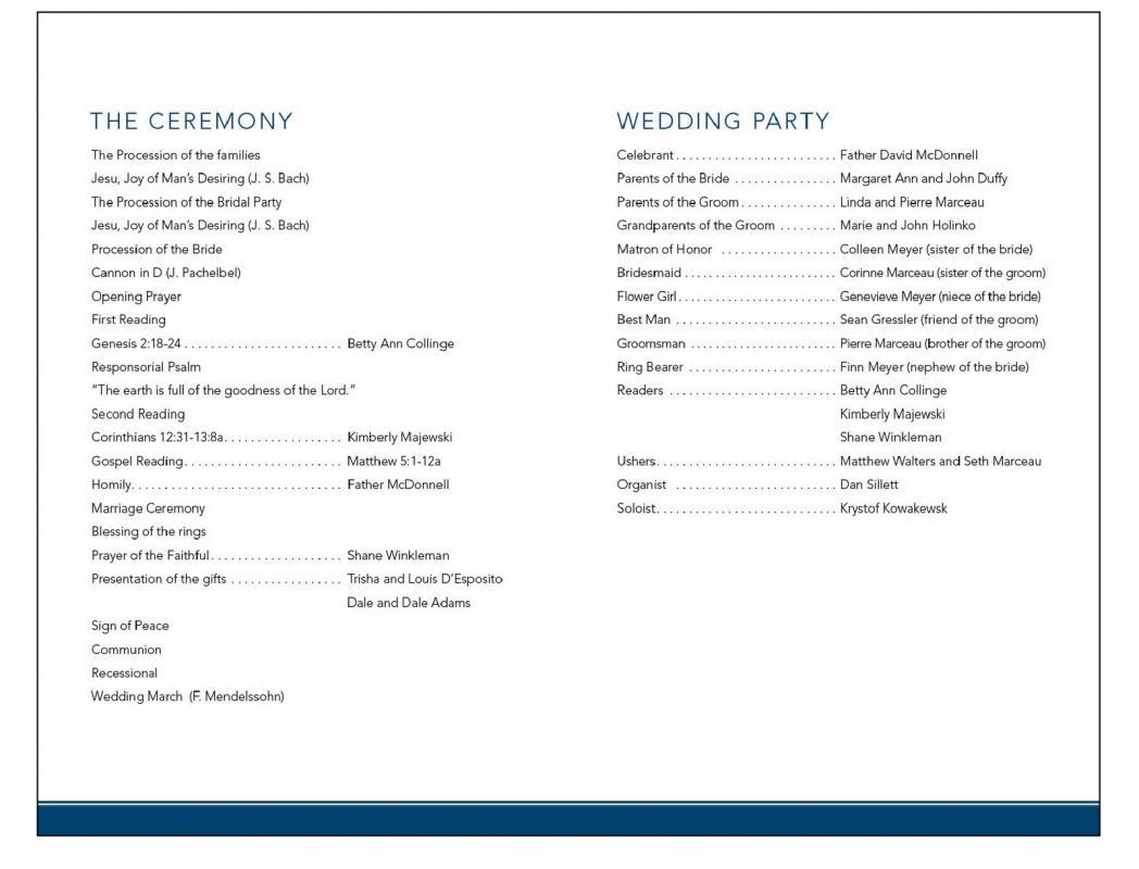 sample of wedding programme