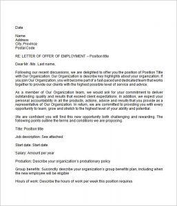 sample offer letter employment job offer letter