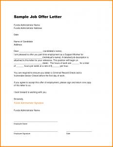 sample offer letter job offer letter sample