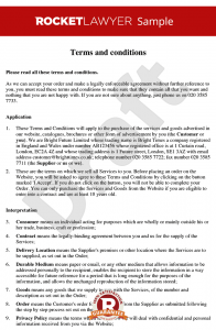 sample operating agreement terms and conditions for supply of services to consumers via a website