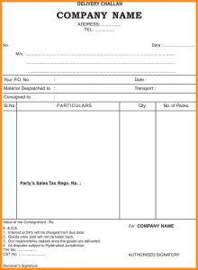 sample order form delivery challan sample