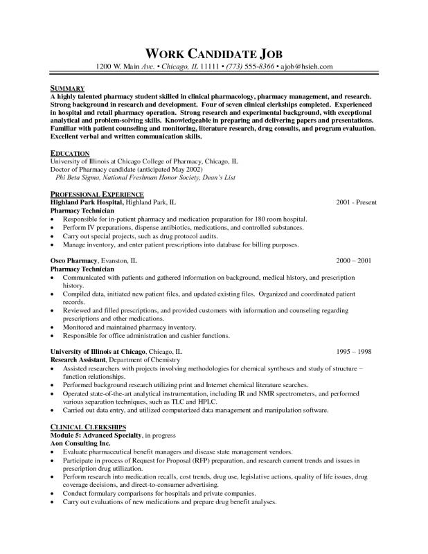 sample pharmacist resume