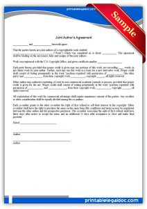 sample power of attorney letter printable joint author's agreement form