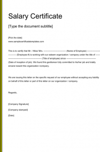 sample power of attorney letter salary certificate template doc free download