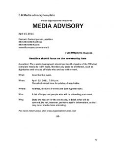 sample press release for event crisis communications handbook