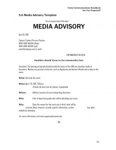 sample press release for event final crisis communications handbook