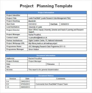sample project plan template sample project management planning template pdf