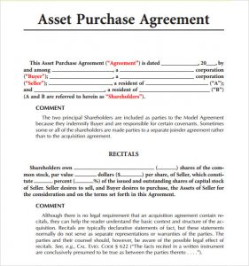 sample purchase agreement model asset purchase agreement