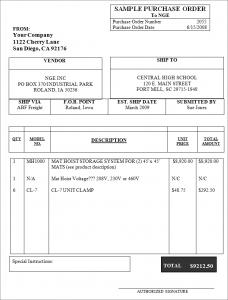 sample purchase order sampleofpurchaseorder