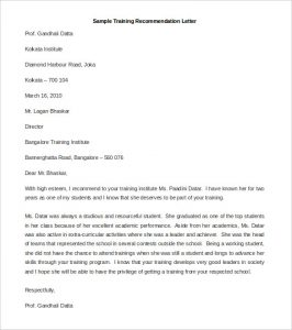sample recommendation letters download sample training recommendation letter template