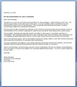 sample recommendation letters sample letter of recommendation for customer service