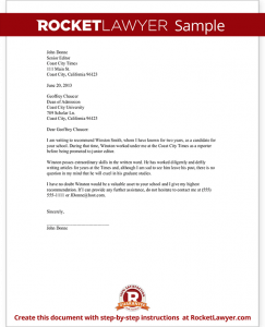 sample recommendation letters sample recommendation letter form template