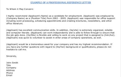 sample reference letters free pdf sample reference letter template