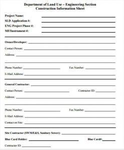 sample registration forms construction company information sheet