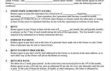 sample rental agreement free rental agreement template
