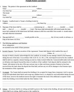 sample rental agreement sample rental contract
