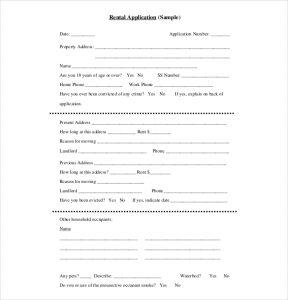 sample rental application basic rental application template