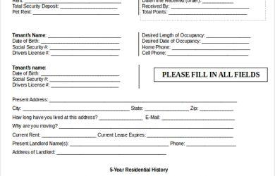 sample rental application editable rental application template word document