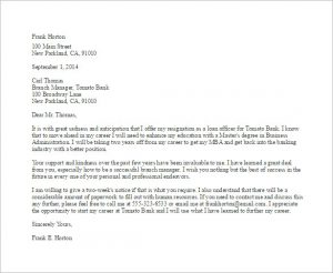 sample resignation email bank employee resignation letter template
