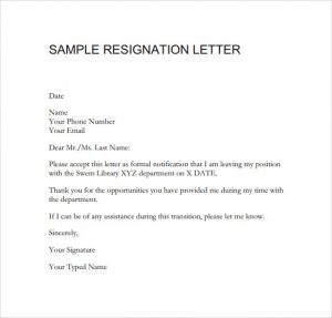 sample resignation email sample resignation letter format