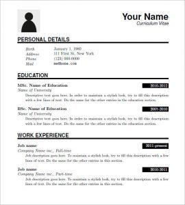 sample resume download free latex resume templates download
