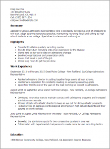 sample resume for college application college admissions representative