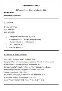sample resume for college application sample college admission resume