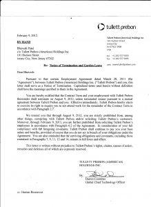 sample termination letter for poor performance tullett termination letter