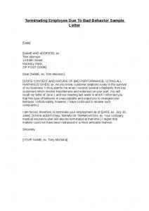 sample termination letter for poor performance terminating employee due to bad performance sample letter