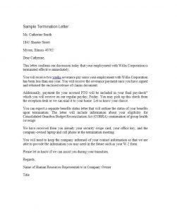 sample termination letter termination letter template