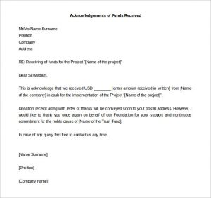 sample thank you letter for donation of goods acknowledgement letter of funds received word format download