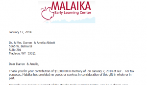 sample thank you letter for donation of goods email acknowledgement letters