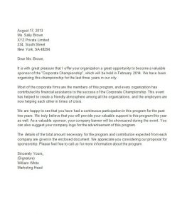 sample thank you letter for donation of goods sponsorship letter template
