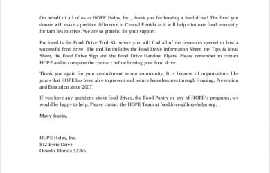 sample thank you letter for donation thank you letter for food donation