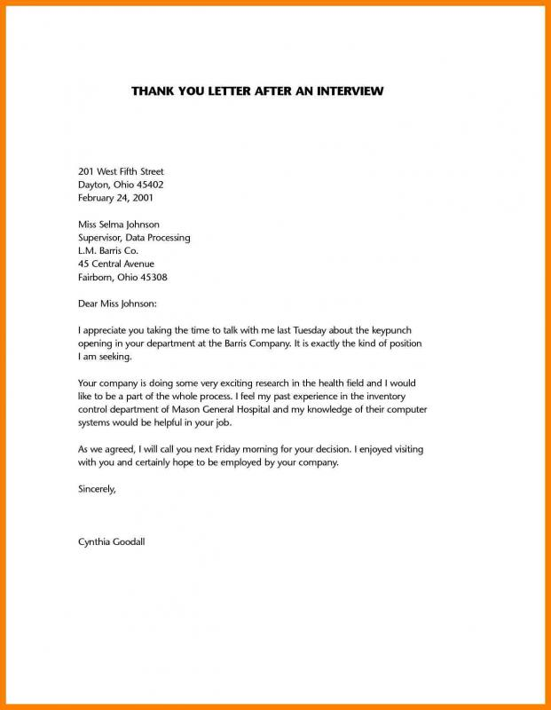 sample thank you notes after interview