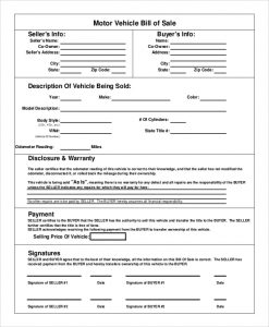 sample vehicle bill of sale sample motor vehicle bill of sale