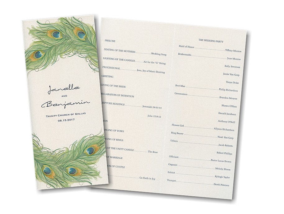 sample wedding program