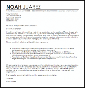 samples of letters of recommendation fraud analyst