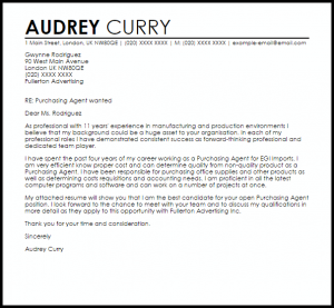 samples of letters of recommendation purchasing agent