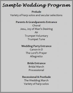 samples of wedding programs program
