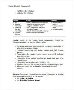 schedule management plan project schedule management plan