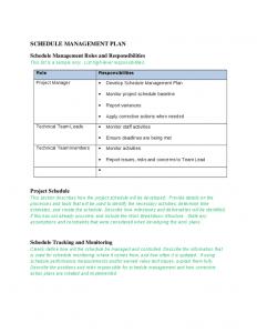 schedule management plan schedule management plan template