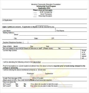 scholarship application template education scholarship application word document