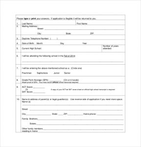 scholarship application template national scholarship application template pdf format