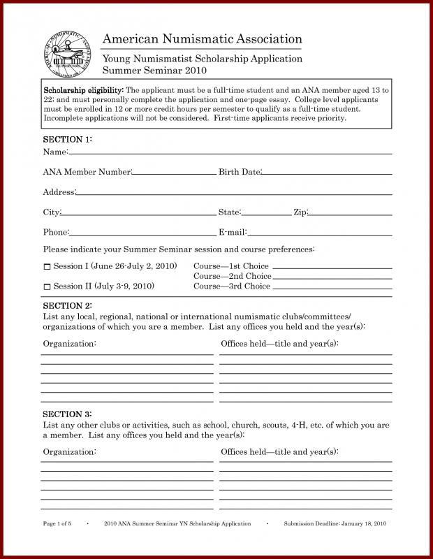 scholarship application template